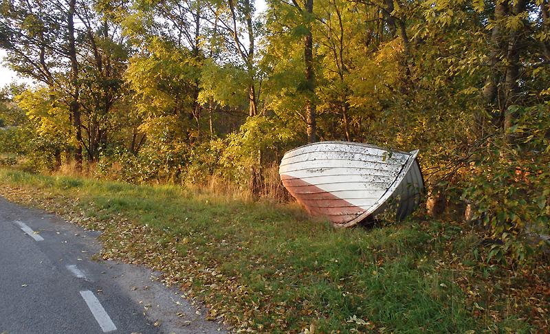 båt på land i höstfärger