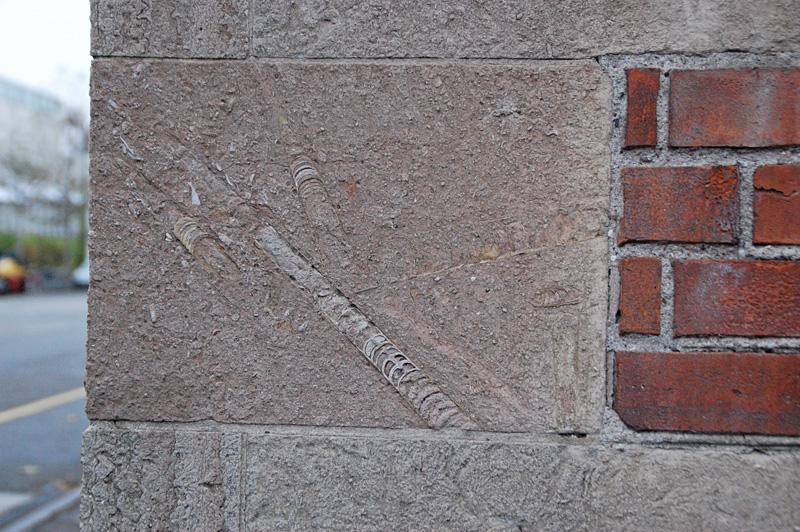 Fossil i husvägg