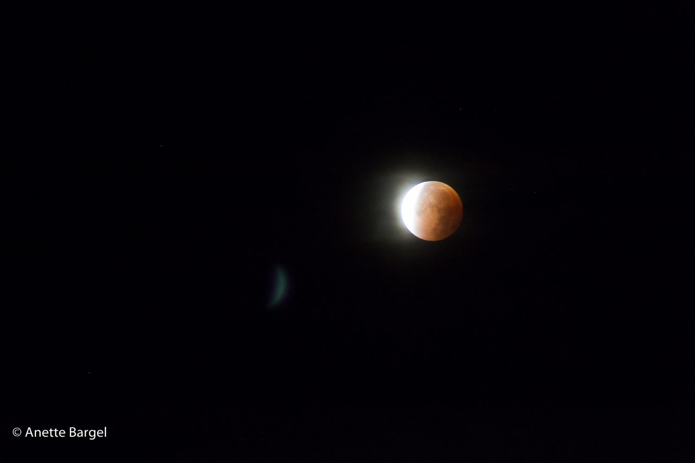 Blodmåne månförmörkelse Foto Anette Bargel